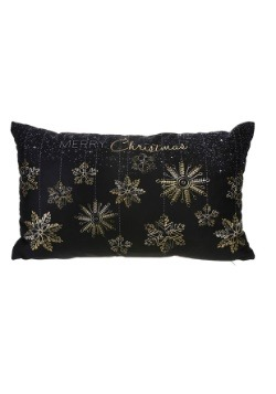 "Merry Christmas Golden Snowflakes 9""x12"" Pillow w/LED Lights"