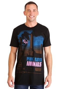 Mens Pink Floyd Animals Pig Stain Black T-Shirt