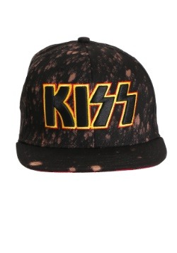 KISS 3D Embroidered Logo Bleached Black Snapback Hat