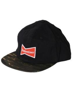Budweiser Bowtie Black/Camo Flatbill Hat