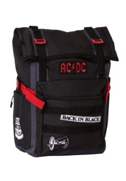 AC/DC Black Roll-Top Backpack