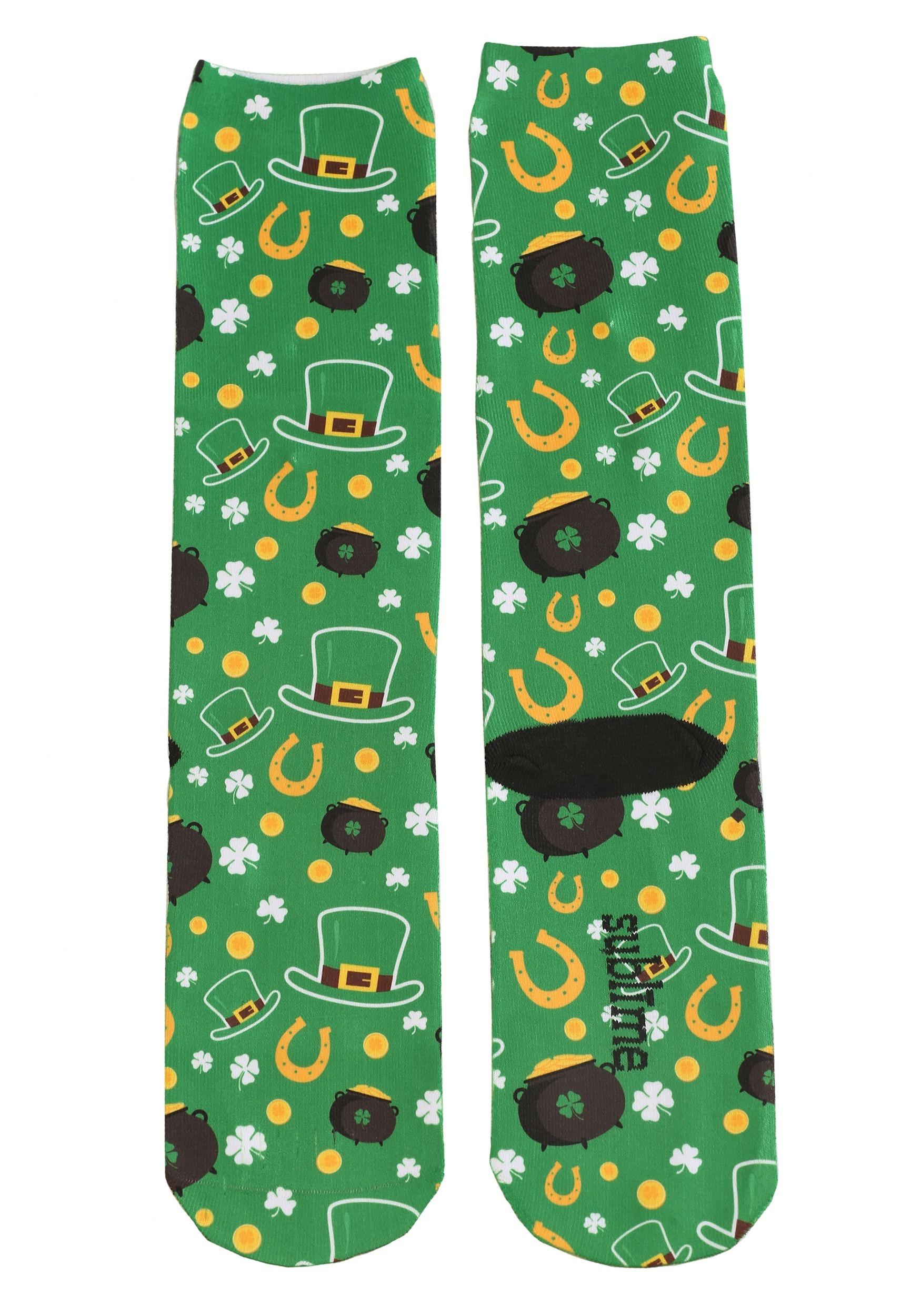 89fc514d8 Adult Saint Patrick s Day All Over Print Knee-High Socks