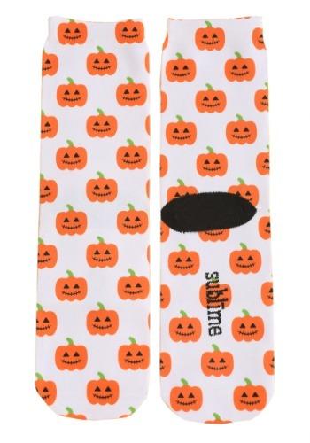 Adult's Halloween Pumpkins White Crew Socks