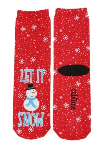 Christmas Snowman Let it Snow Adult Crew Socks