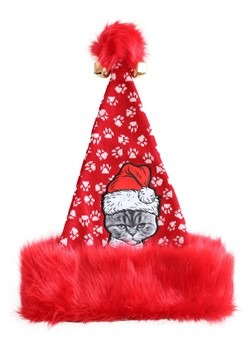 UGLY HOLIDAY ANGRY CAT SANTA HAT