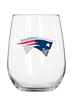 New England Patriots 16oz Curved Glass