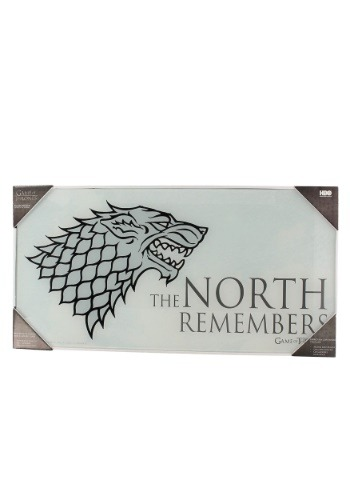 THE NORTH REMEMBERS GAME OF THRONES GLASS POSTER