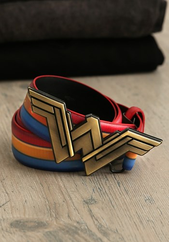 Wonder Woman Logo Gold Buckle and Colored Striped Belt