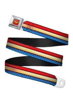 Wonder Woman Stripe/Stars Logo Seatbelt Buckle Belt