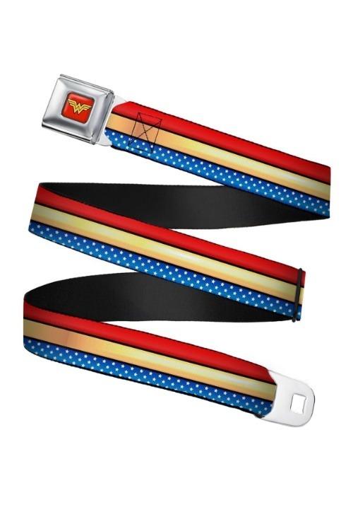 Wonder Woman Stripe/Stars Logo Seatbelt Buckle Belt