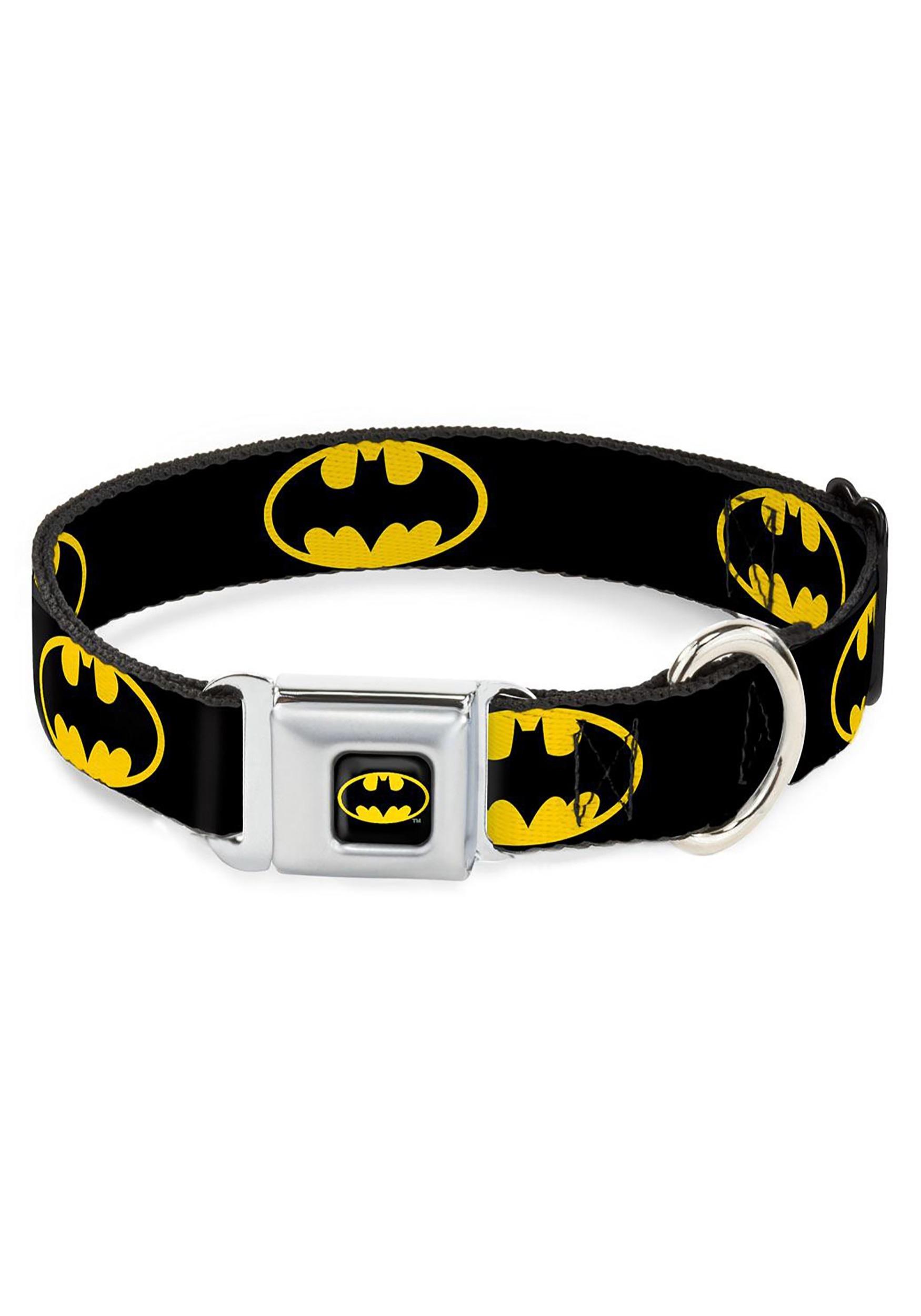 Batman_Logo_Black_Seatbelt_Buckle_Dog_Collar_1_Wide