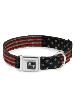 "Vintage US Flag Seatbelt Buckle Dog Collar- 1"" Wide"