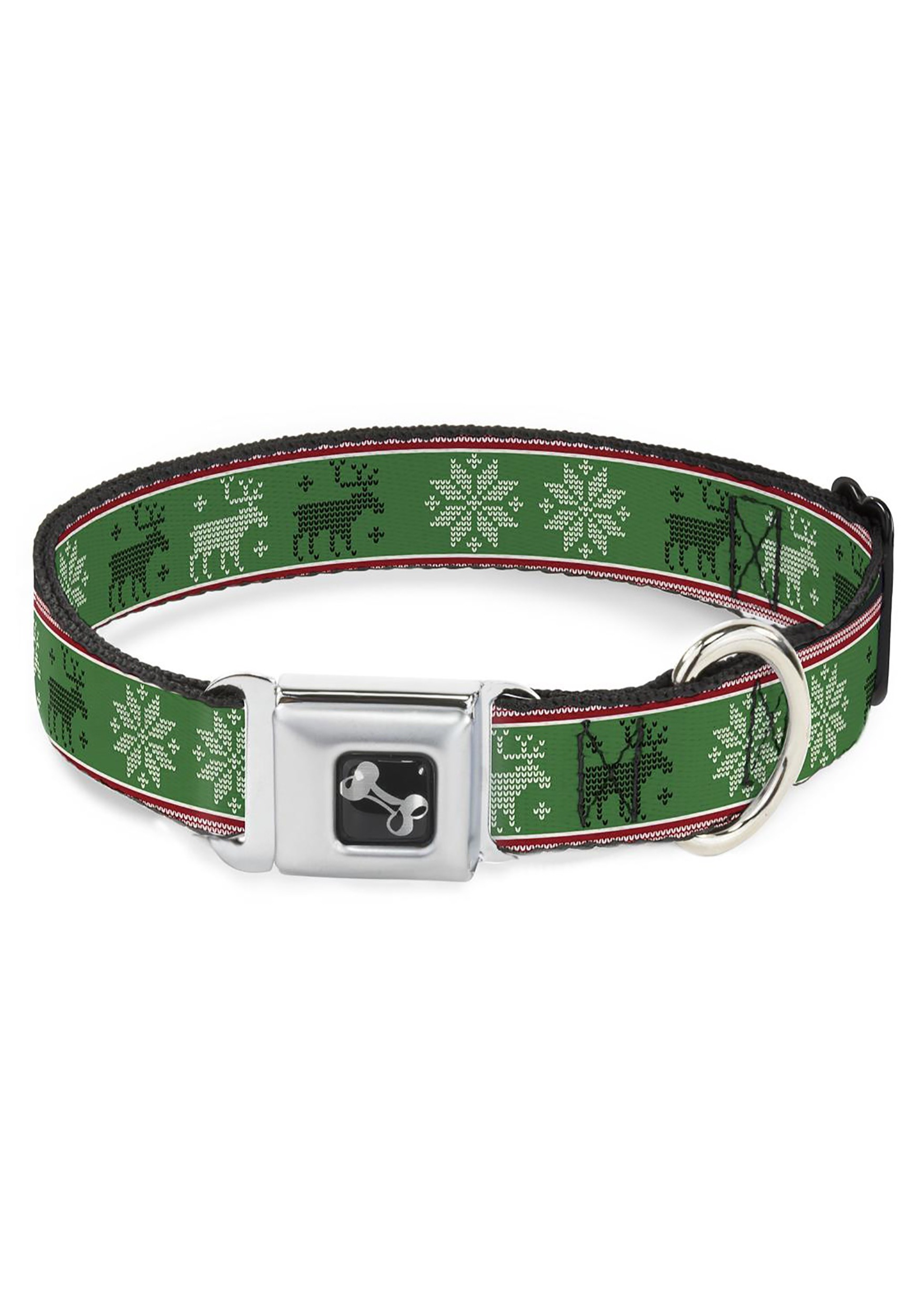 "1""_Wide_Christmas_Pattern_Moose_Snowflakes_Green_Seatbelt_Buckle_Dog_Collar"