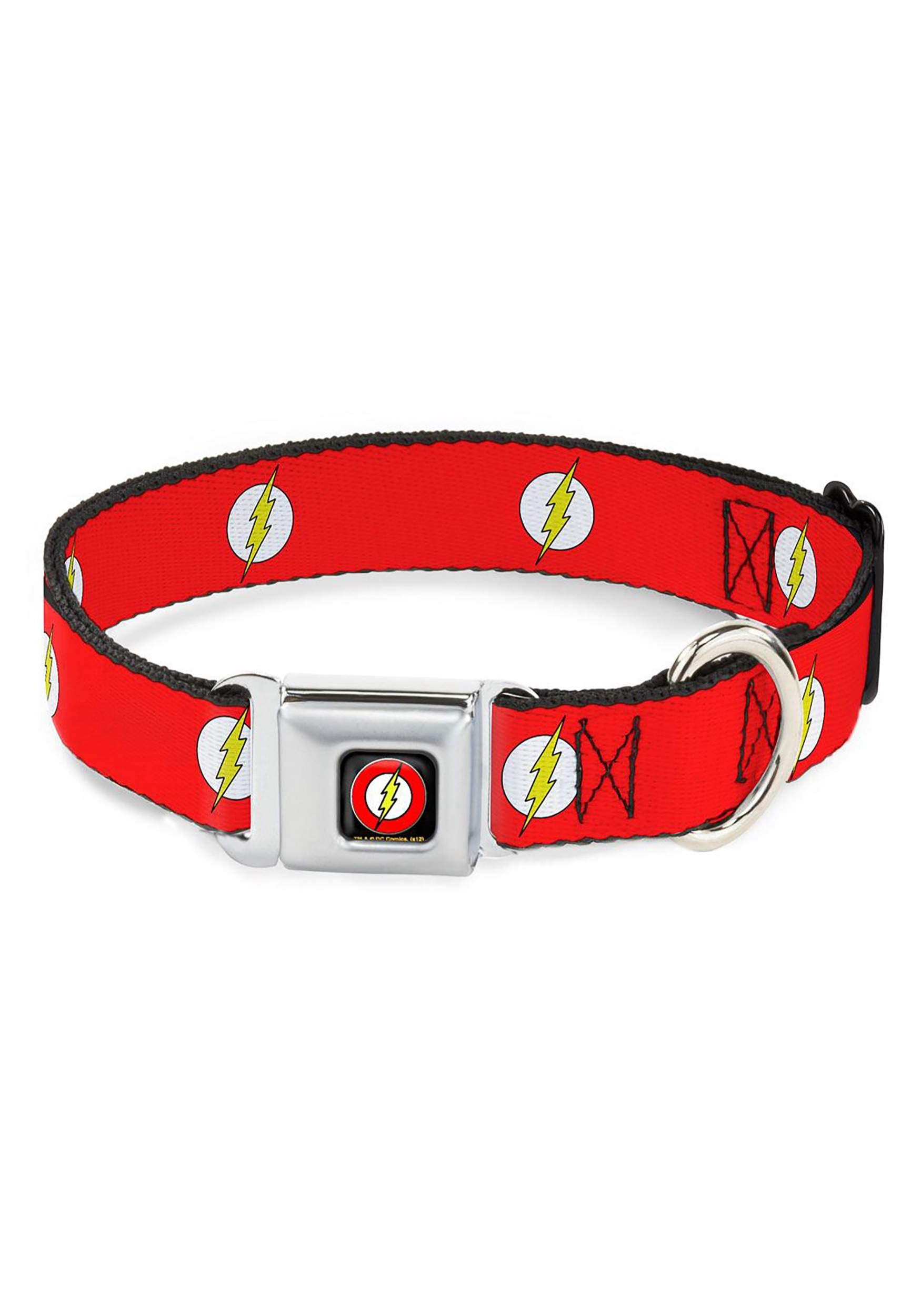 "The_Flash-_Logo_Red_Seatbelt_Buckle_Dog_Collar-_1""_Wide"