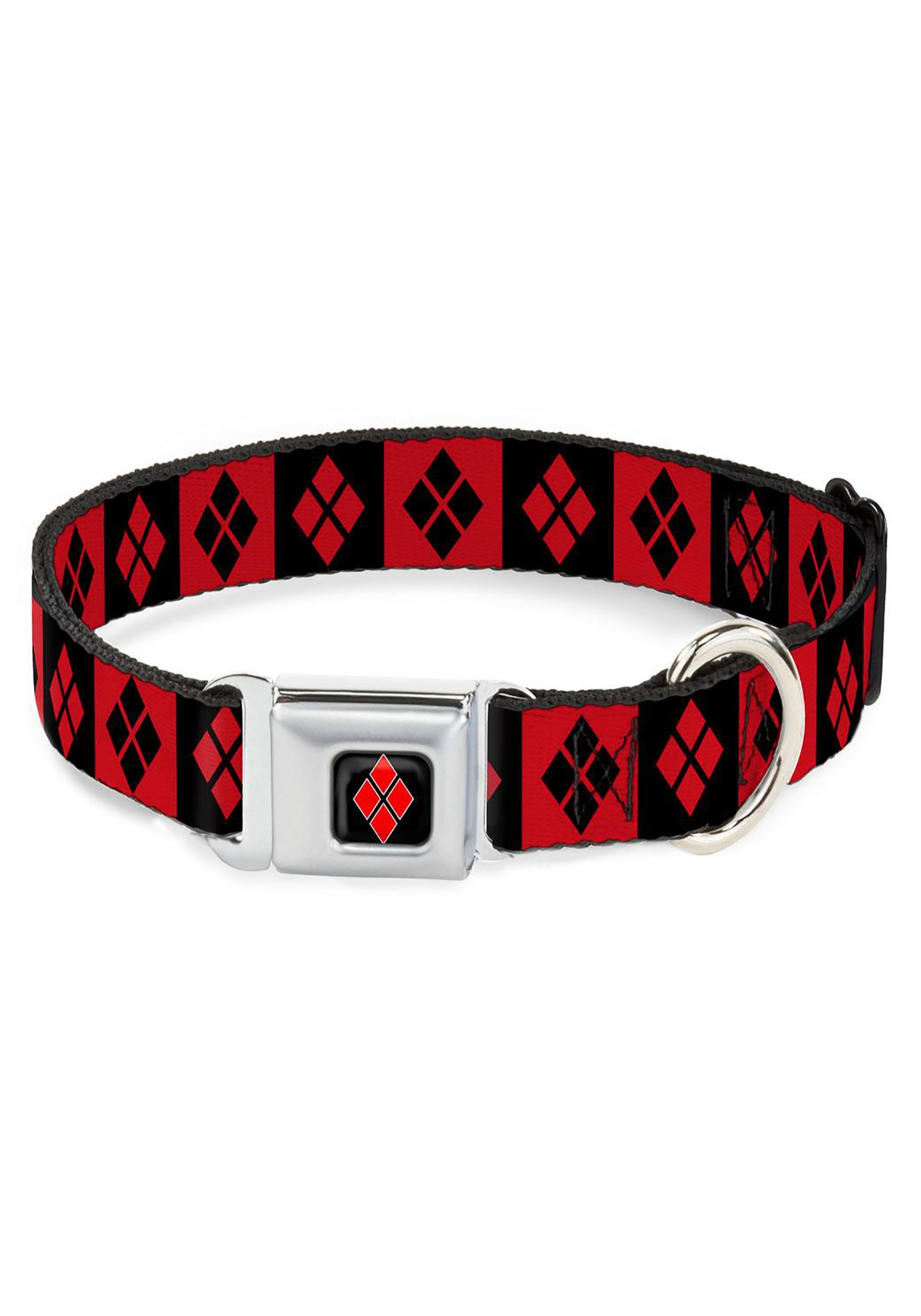 "Diamonds_Harley_Quinn_Red_Black_Seatbelt_Buckle_Dog_Collar-_1""_Wide"