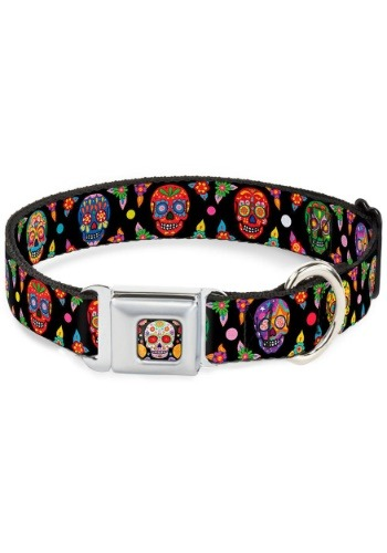 "Sugar Skull Multi-Color Seatbelt Buckle Dog Collar- 1"" Wide"