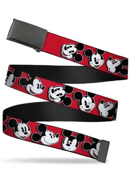 """Disney Mickey Mouse Faces Black Buckle Red Web Belt 1.25"""" Wi"""
