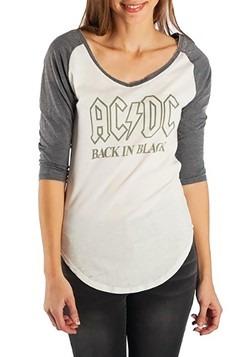 Womens AC/DC Back in Black Short Sleeve Raglan Tee 1