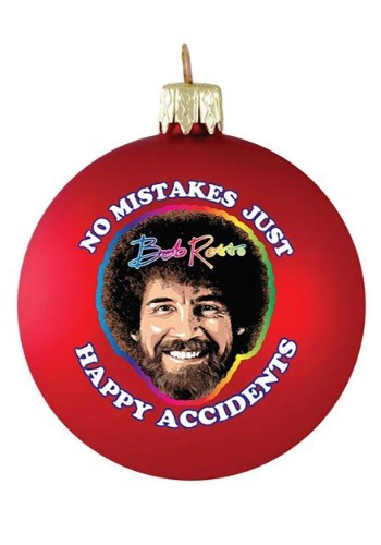 Bob Ross No Mistakes Glass Ball Christmas Ornament