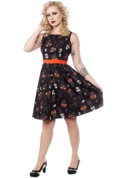 Sourpuss Clothing Black Cats Halloween Shift Dress