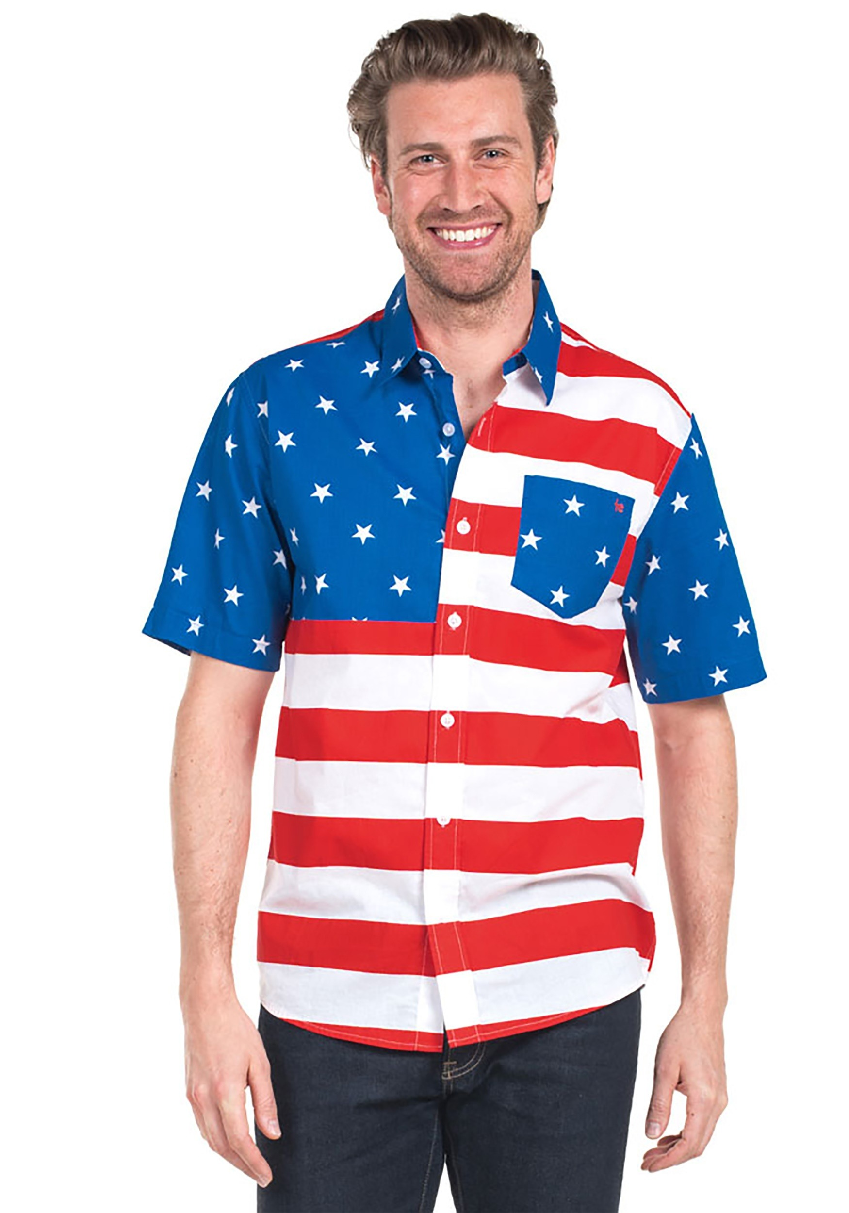 98e1a4ee4c50 Tipsy Elves USA Flag Mens Hawaiian Shirt