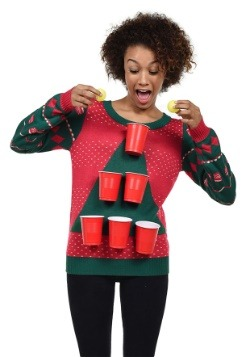 Women's Tipsy Elves Beer Pong Ugly Christmas Sweater