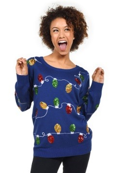 Women's Tipsy Elves Christmas Lights Ugly Christmas Sweater