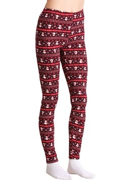 Ugly Christmas Snowman Pattern Print Maroon Leggings