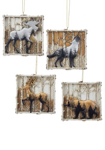 Winter Wood Animals 4 pc Christmas Ornament Set