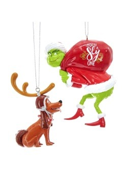 2 pc Grinch and Max Ornament Set
