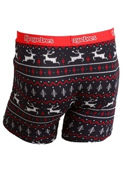 Tipsy Elves Mens Black/Red Reindeer Fair Isle Ugly