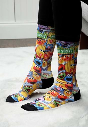 Adult Sesame Street Characters All Over Sublimated Socks
