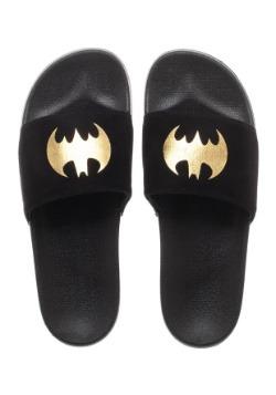 Batman Adult Gold Foil Logo Suede Slide Sandals3