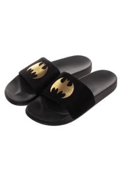 Batman Adult Gold Foil Logo Suede Slide Sandals 4