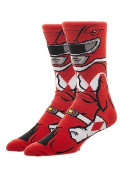 Adult Power Rangers Red Ranger 360 Character Crew Sock