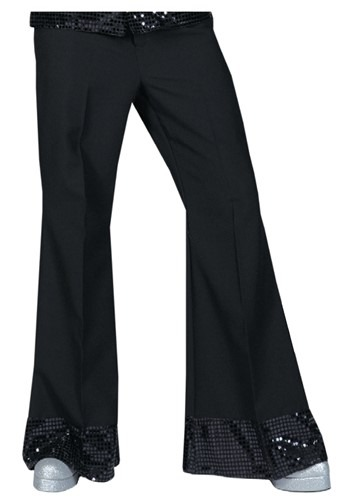 Black Sequin Cuff MensDisco Pants