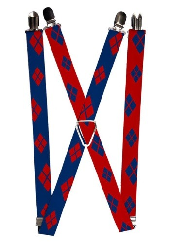 Harley Quinn Blue/Red 1inch Suspenders