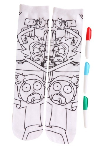 Adult Rick and Morty Color Me Crew Socks