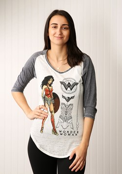 Wonder Woman Posed Heather V-Neck Womens Raglan Shirt