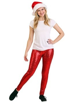 Tipsy Elves Womens Red Sequin Leggings