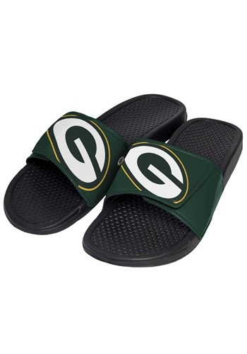 Green Bay Packers Mens Cropped Big Logo Slide Flip Flops