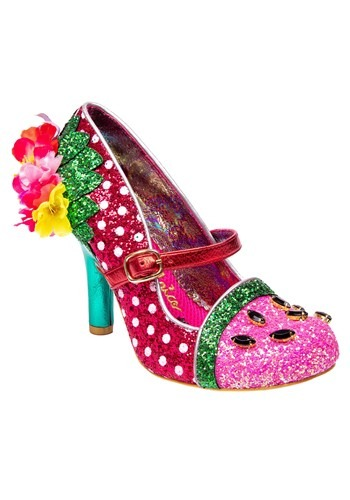 """Crimson Sweet"" Pink/Green Irregular Choice Heels"