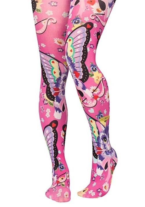 Irregular Choice Womens Catterfly Print Tights