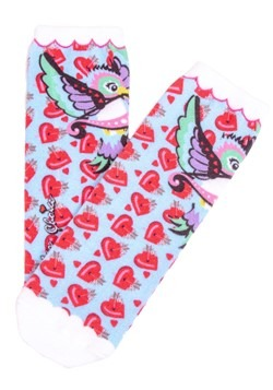 Irregular Choice Women's Cupid Bird Print Socks