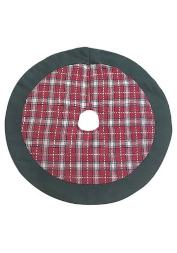 "Red Plaid w/ Green Trim 18"" Mini Christmas Tree Skirt"