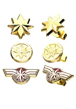 Captain Marvel Earring Set