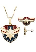 Captain Marvel Necklace Earring Set