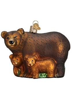 Bear with Cubs Glass Blown Hanging Ornament