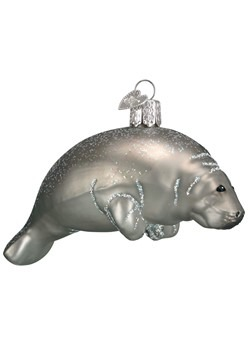 Manatee Glass Blown Hanging Ornament
