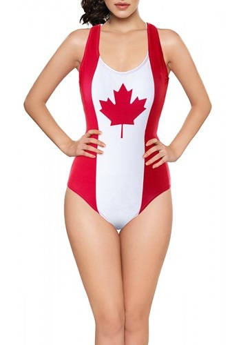 Women's Canadian Flag One-Piece Tank Swimsuit